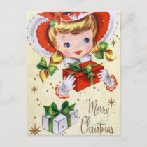 Vintage retro Christmas girl Holiday postcard
