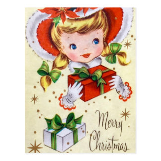 Vintage retro Christmas girl Holiday postcard