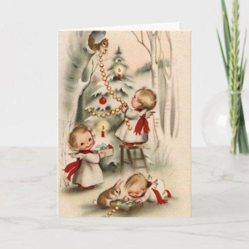 Vintage Retro Christmas Greeting Card