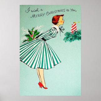 Vintage retro Christmas Holiday lady poster