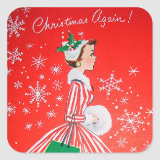 Vintage retro Christmas Holiday lady sticker