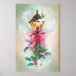 Vintage retro Christmas Holiday lamp poster