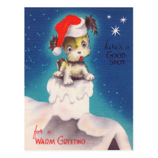 Vintage retro Christmas Holiday puppy postcard