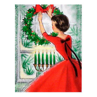 Vintage retro Christmas Holiday woman postcard