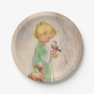 Vintage retro Christmas kid deer bird party plate
