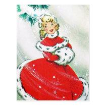 Vintage retro Christmas lady Holiday postcard