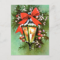 Vintage retro Christmas light Holiday postcard
