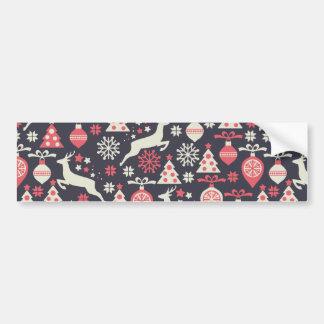 Vintage Retro Christmas Pattern Holiday Bumper Sticker