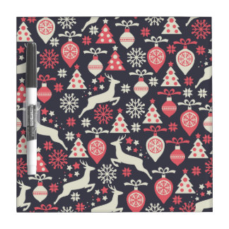 Vintage Retro Christmas Pattern Holiday Dry Erase Board
