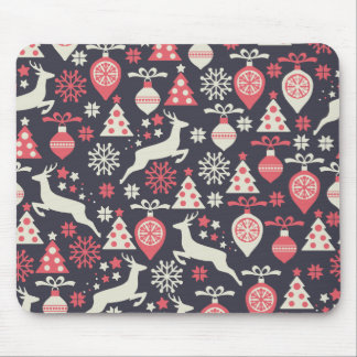 Vintage Retro Christmas Pattern Holiday Mouse Pad
