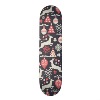 Vintage Retro Christmas Pattern Holiday Skateboard