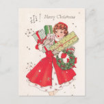 "Vintage Retro Christmas Postcard<br><div class=""desc"">""Hi! Merry Christmas"". This Christmas send your warm wishes to friends and family with this vintage postcard.</div>"