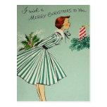 Vintage Retro Christmas Postcard
