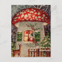 Vintage Retro Christmas Postcard