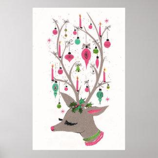 Vintage retro Christmas reindeer poster