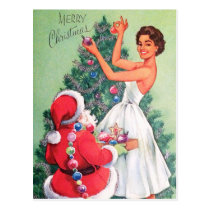 Vintage retro Christmas Santa and woman postcard