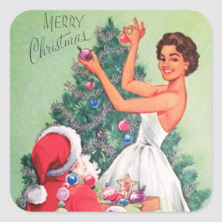 Vintage retro Christmas Santa Lady sticker