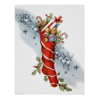 Vintage retro Christmas Santa stocking poster