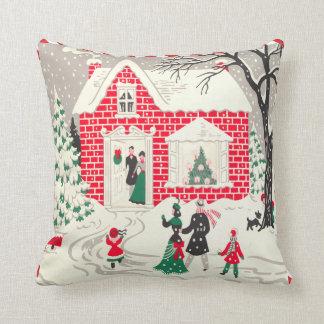 Vintage Retro Christmas Scene Little Red House Throw Pillow