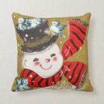 Vintage Retro Christmas Snowman And Birds Pillows