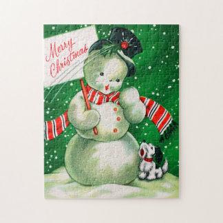 Vintage retro Christmas snowman card puzzle