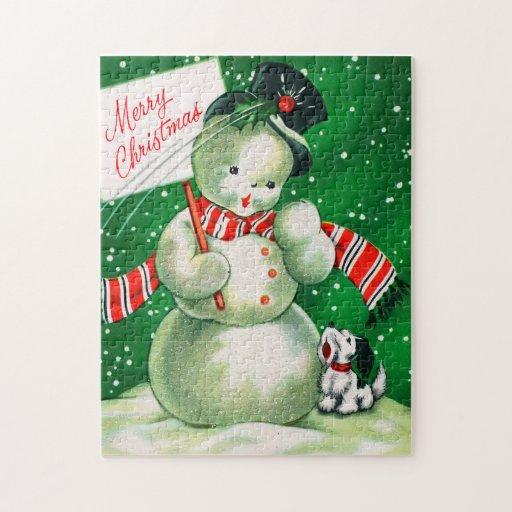 Vintage Snowman card puzzle