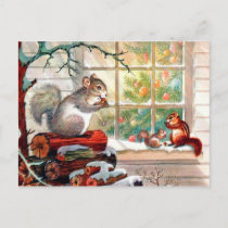 Vintage retro Christmas squirrels Holiday postcard