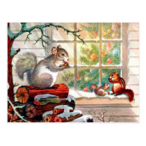 Vintage retro Christmas squirrels Holiday postcard