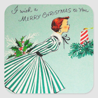Vintage retro Christmas wish Holiday sticker