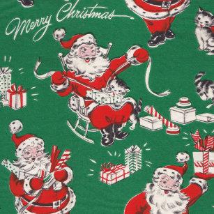 vintage retro christmas wrapping paper santa claus - Vintage Christmas Wrapping Paper