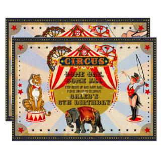 Vintage Retro Circus Birthday Party Invitation