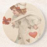 Vintage Retro Clown Valentine Card Coaster