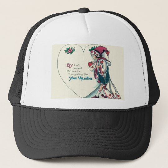 Vintage Retro Clown Valentine Card Trucker Hat