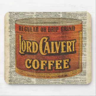 Vintage Retro Coffee Can On Old Encyclopedia Page Mouse Pad