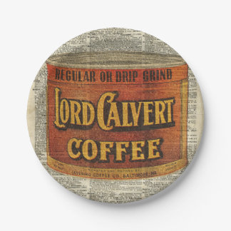 Vintage Retro Coffee Can On Old Encyclopedia Page Paper Plate