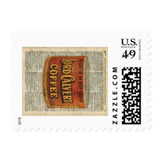 Vintage Retro Coffee Can On Old Encyclopedia Page Postage