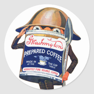 Vintage Retro Coffee Washingtons Coffee Character Classic Round Sticker