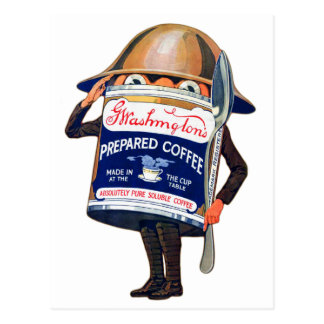 Vintage Retro Coffee Washingtons Coffee Character Postcard