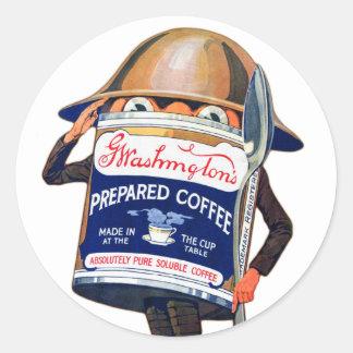 Vintage Retro Coffee Washingtons Coffee Character Classic Round Sticker