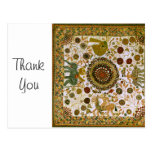 Vintage Retro Colorful Bengali Elephant Pattern Post Card
