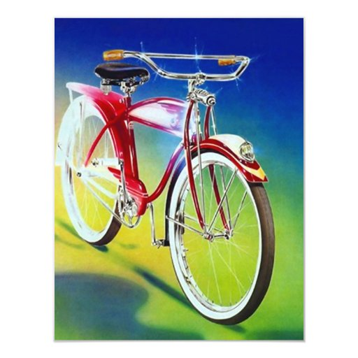 "Vintage Retro Colorful Bicycle Party Invitations 4.25"" X 5.5"" Invitation Card"