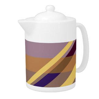 Vintage Retro Colorful Diagonal Stripes Teapot