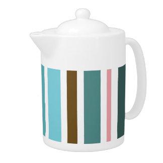Vintage Retro Colorful Stripes Art #10 Teapot