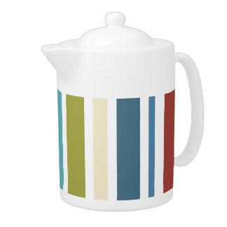 Vintage Retro Colorful Stripes Art #11 Teapot