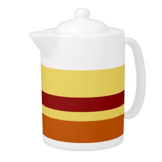 Vintage Retro Colorful Stripes Art #22 Teapot