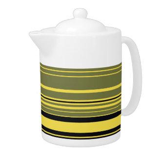 Vintage Retro Colorful Stripes Art #2 Teapot
