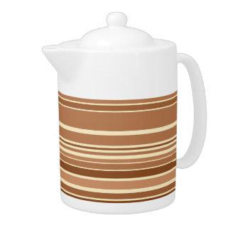 Vintage Retro Colorful Stripes Art #3 Teapot