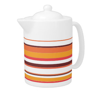 Vintage Retro Colorful Stripes Art #4 Teapot