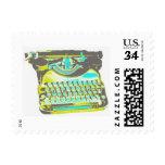 Vintage Retro Colorful Typewriter Postage Stamp