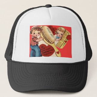 Vintage Retro Comb & Brush Valentine Card Trucker Hat